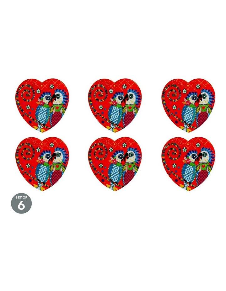 Love Hearts Ceramic Heart Coaster 10cm Fan Club Set of 6 image 1