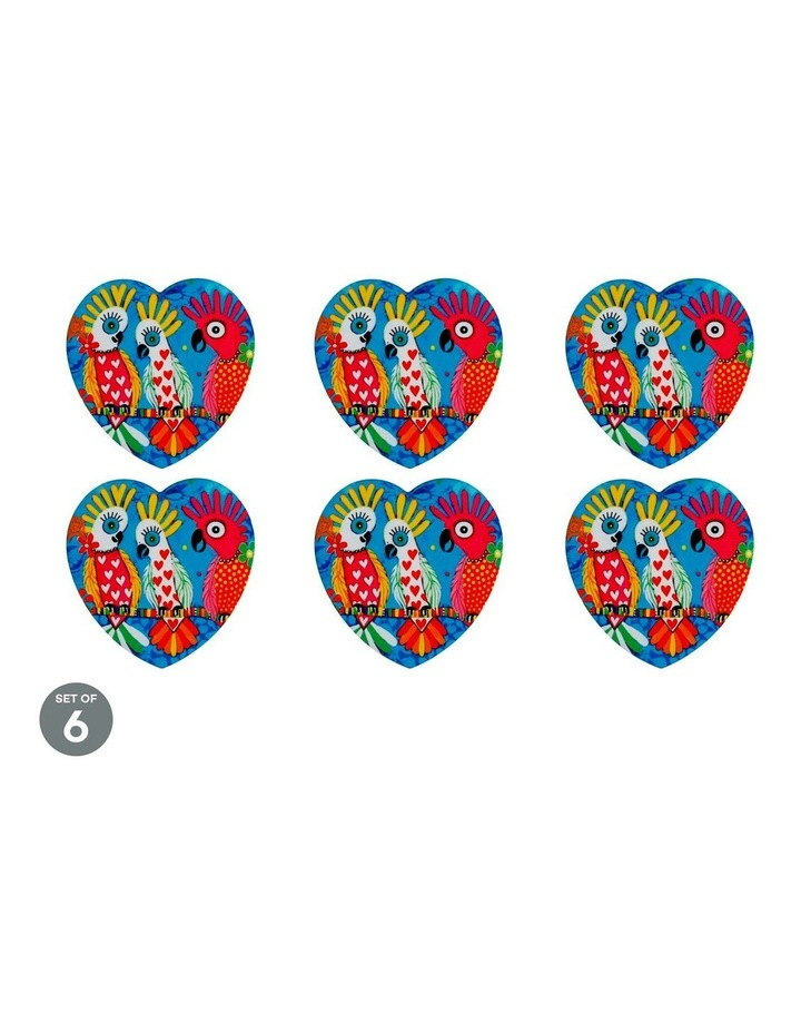 Love Hearts Ceramic Heart Coaster 10cm Chatter Set of 6 image 1