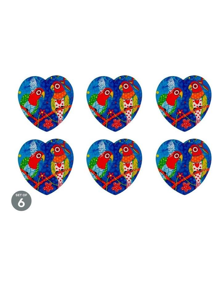 Love Hearts Ceramic Heart Coaster 10cm Rainbow Girls Set of 6 image 1