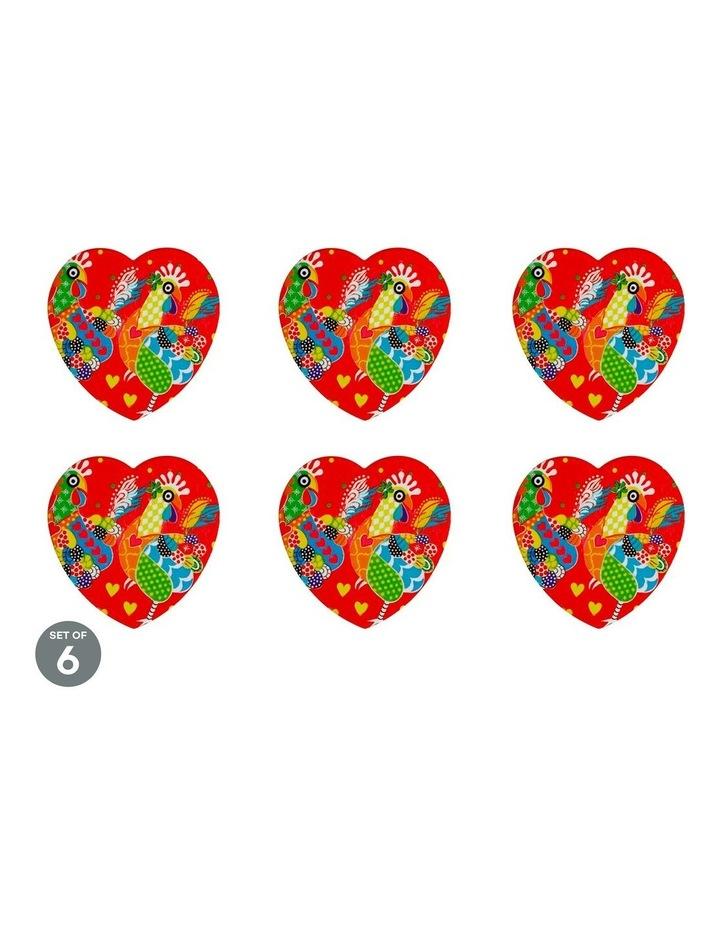 Love Hearts Ceramic Heart Coaster 10cm Chicken Dance Set of 6 image 1