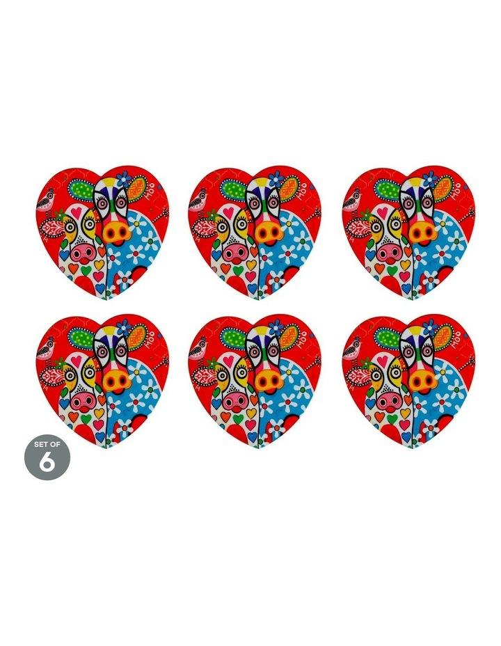 Love Hearts Ceramic Heart Coaster 10cm Happy Moo Day Set of 6 image 1