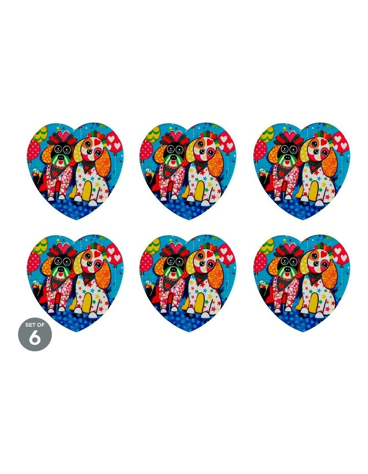Love Hearts Ceramic Heart Coaster 10cm Oodles of Love Set of 6 image 1