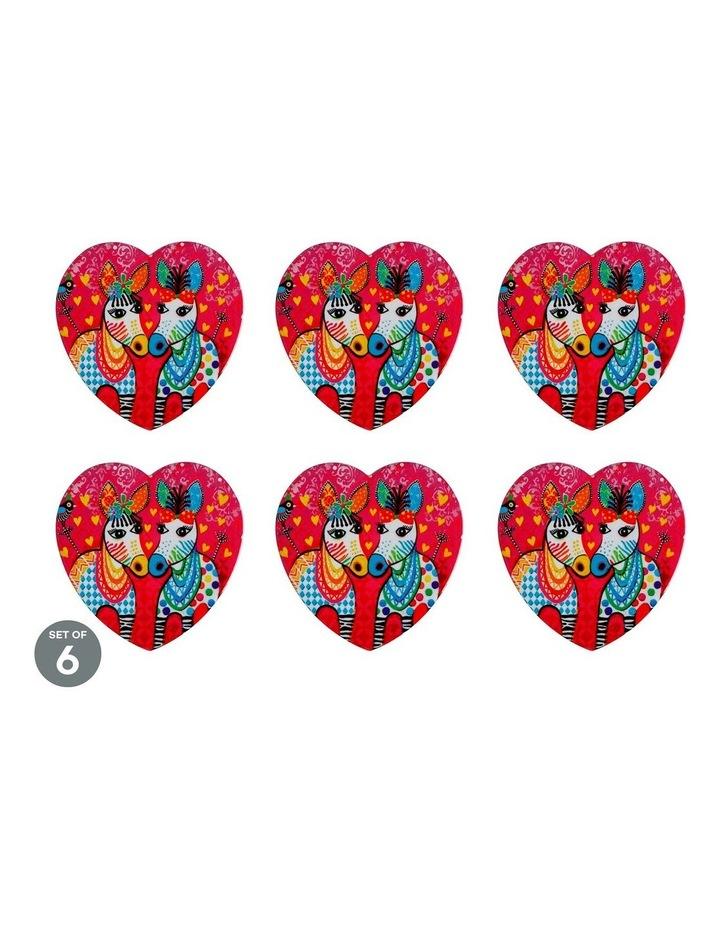 Love Hearts Ceramic Heart Coaster 10cm Zig Zag Zebras Set of 6 image 1