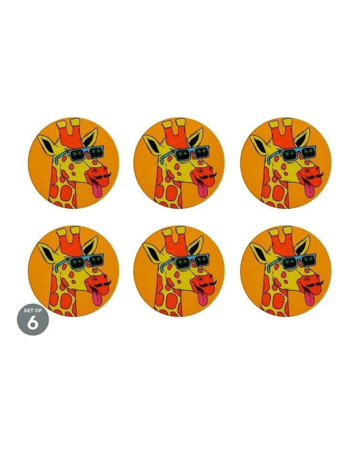 Mulga the Artist Ceramic Round Coaster 10.5cm Giraffe Set of 6 image 1