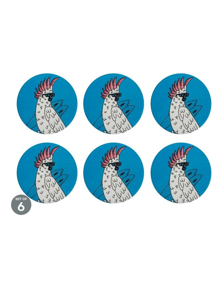 Mulga the Artist Ceramic Round Coaster 10.5cm Cockatoo Set of 6 image 1