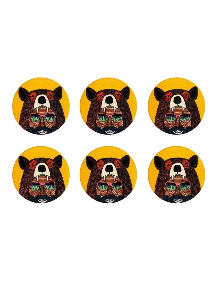 Mulga the Artist Ceramic Round Coaster 10.5cm Bear Man Set of 6 image 1
