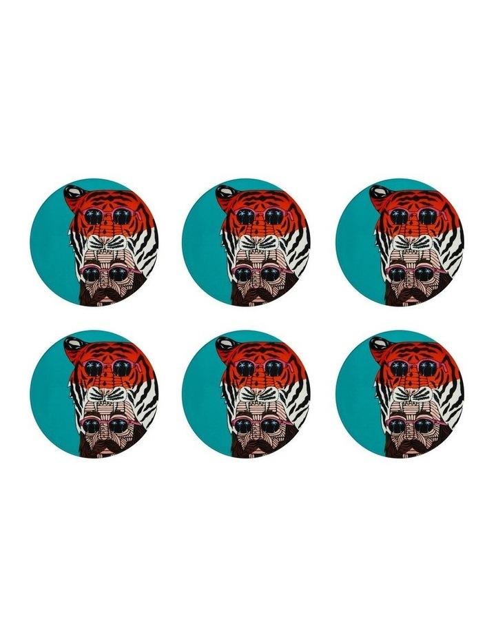 Mulga the Artist Ceramic Round Coaster 10.5cm Tiger Man Set of 6 image 1