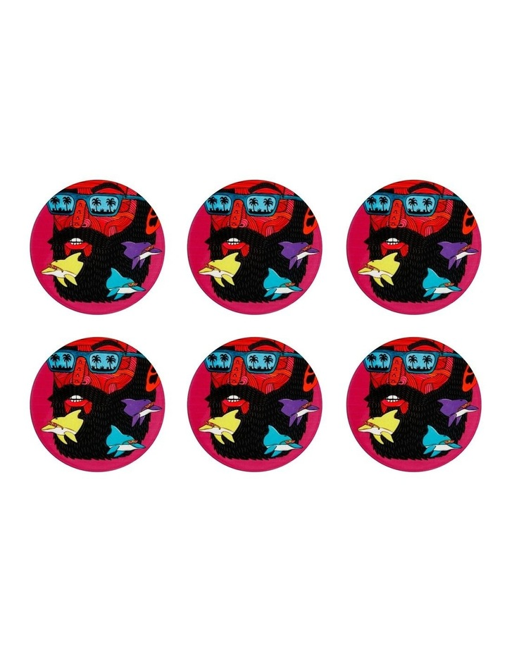 Mulga the Artist Ceramic Round Coaster 10.5cm Dolphin Man Set of 6 image 1
