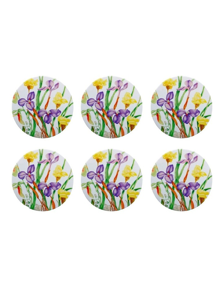 Royal Botanic Gardens Euphemia Henderson Ceramic Round Coaster 9.5cm Native Iris Set of 6 image 1