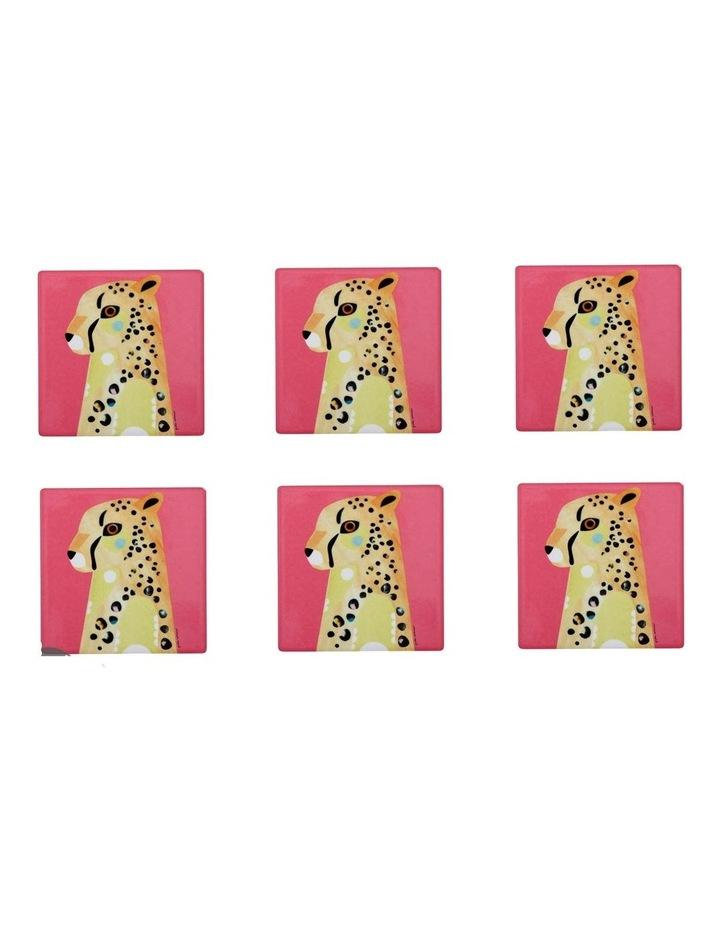 Pete Cromer Wildlife Ceramic Square Coaster 9.5cm Cheetah Set of 6 image 1