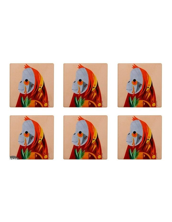 Pete Cromer Wildlife Ceramic Square Coaster 9.5cm Orangutan Set of 6 image 1