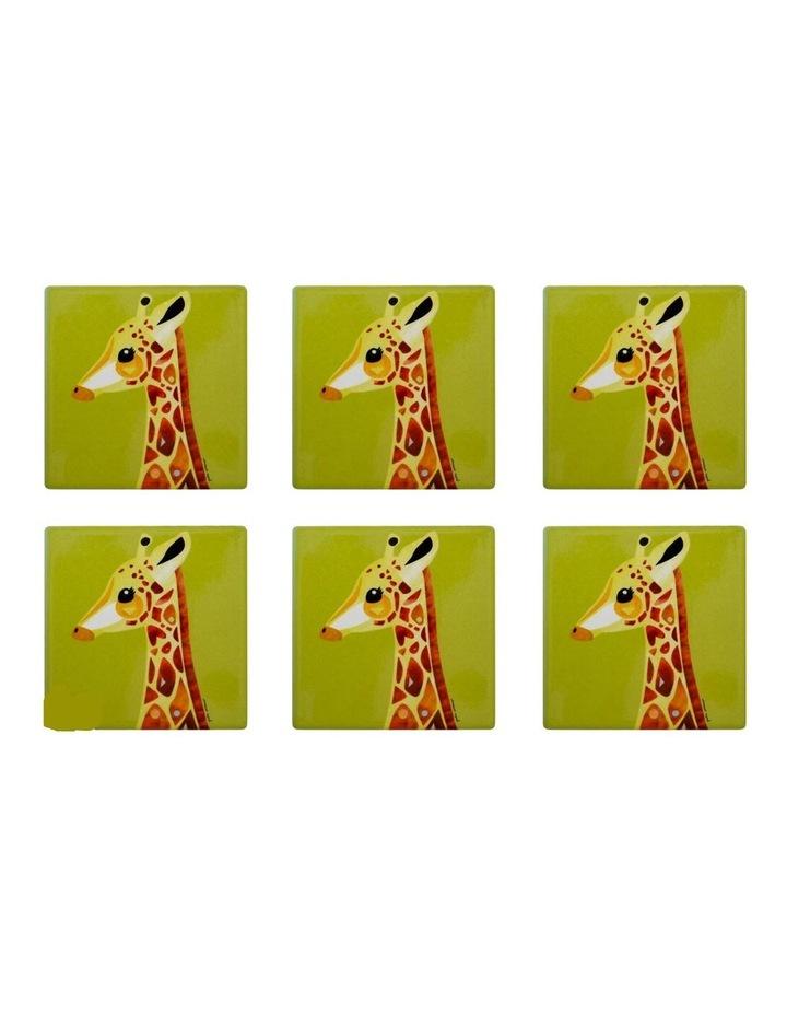 Pete Cromer Wildlife Ceramic Square Coaster 9.5cm Giraffe Set of 6 image 1