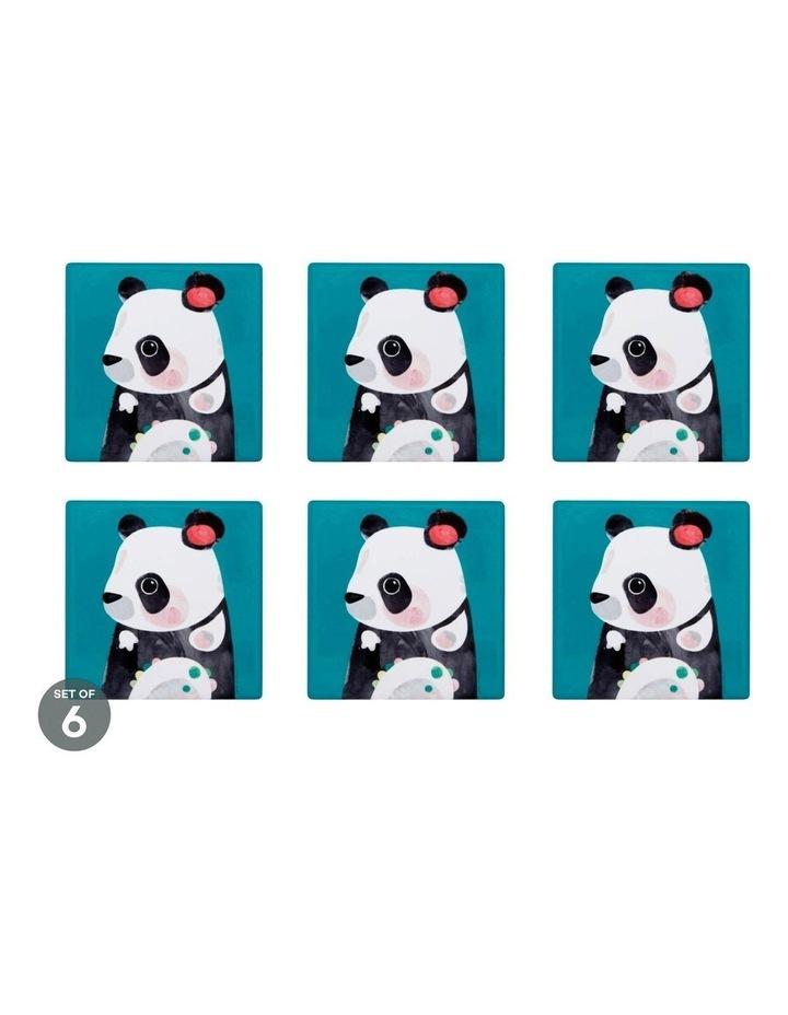 Pete Cromer Wildlife Ceramic Square Coaster 9.5cm Panda Set of 6 image 1
