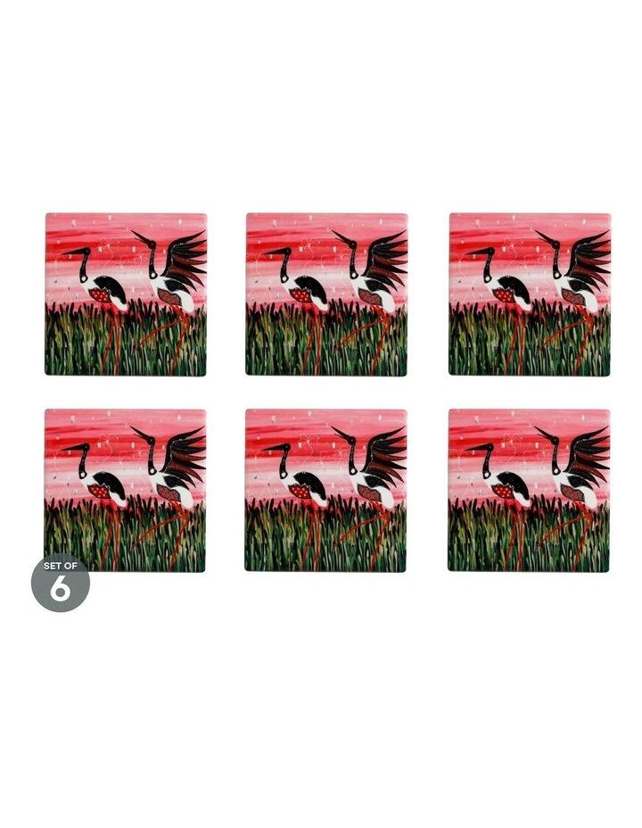 Melanie Hava Jugaig-Bana-Wabu Ceramic Square Coaster 10cm Jabirus Pink Set of 6 image 1