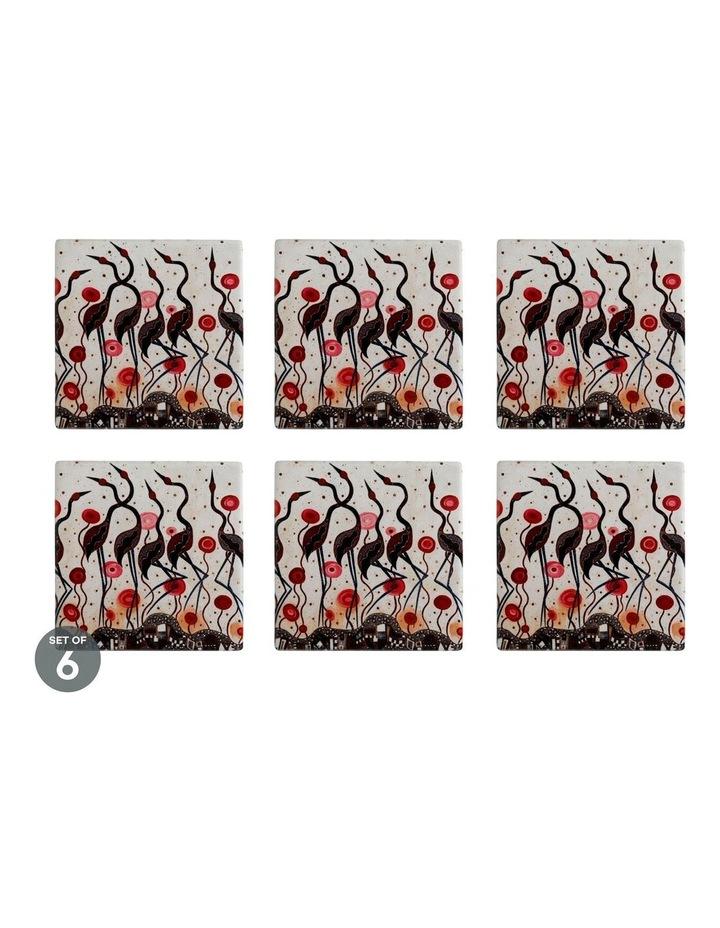 Melanie Hava Jugaig-Bana-Wabu Ceramic Square Coaster 10cm Brolgas Set of 6 image 1
