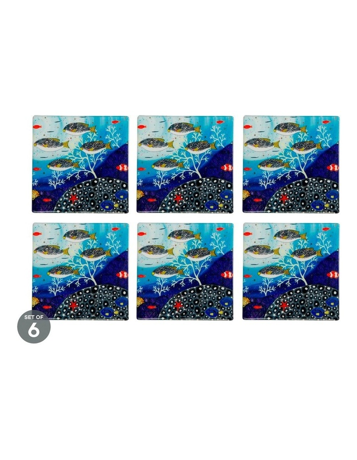 Melanie Hava Jugaig-Bana-Wabu Ceramic Square Coaster 10cm Goldman Sweetlips Set of 6 image 1