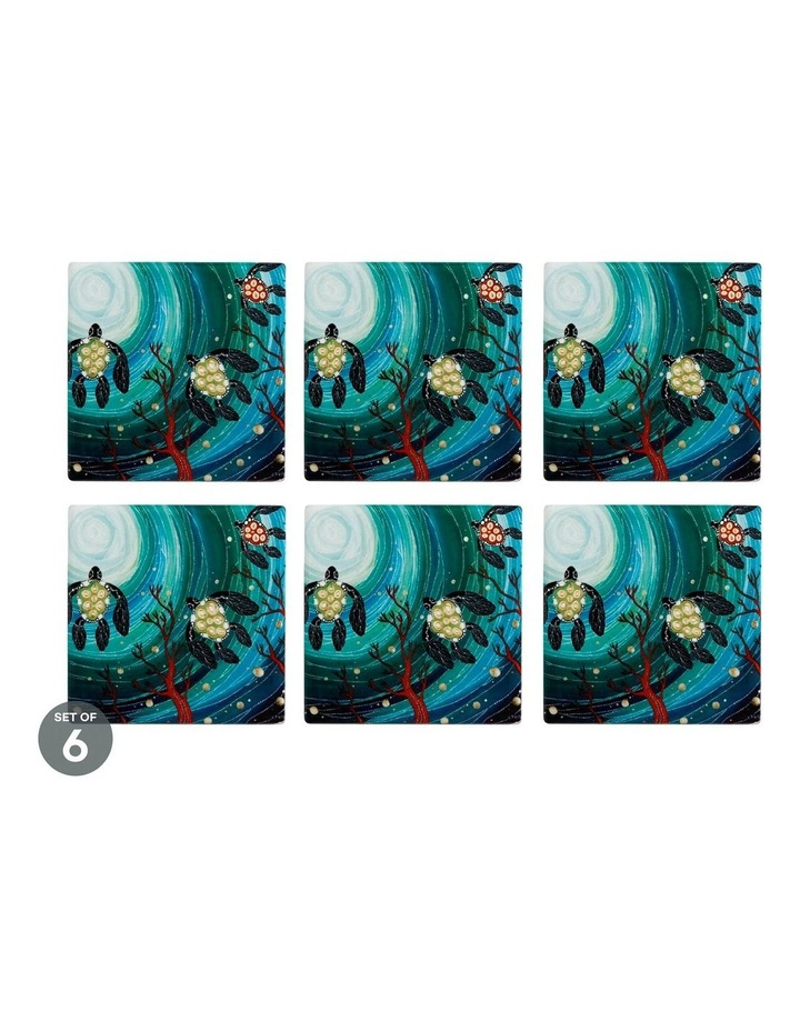 Melanie Hava Jugaig-Bana-Wabu Ceramic Square Coaster 10cm Turtles Set of 6 image 1