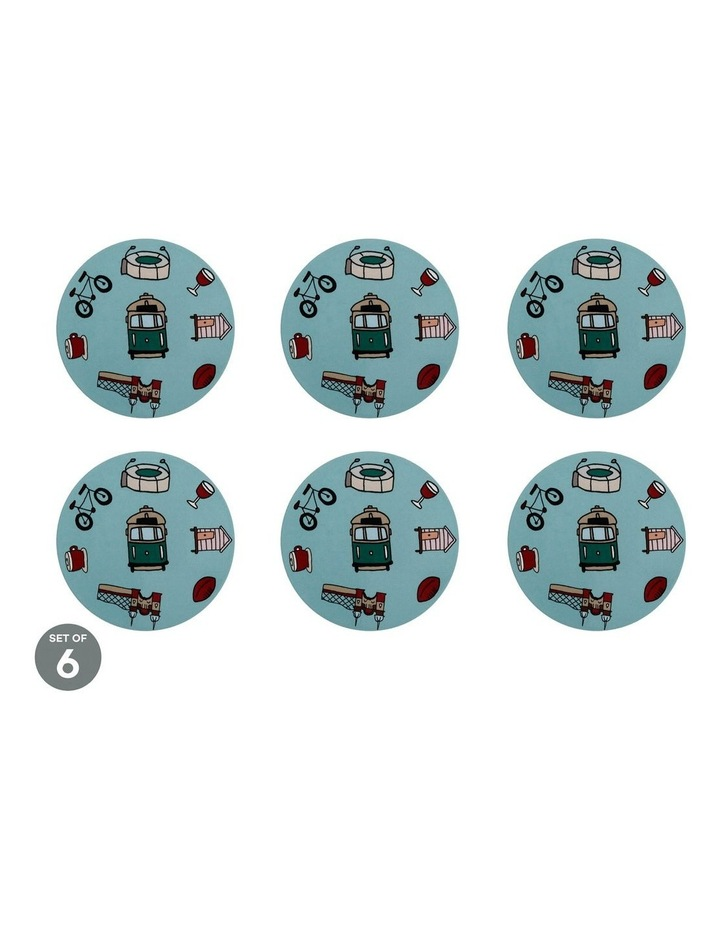 Megan McKean Cities Ceramic Round Coaster 10.5cm Melbourne Set of 6 image 1