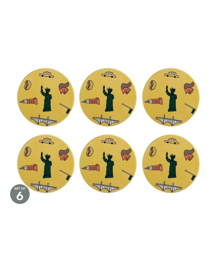 Megan McKean Cities Ceramic Round Coaster 10.5cm New York Set of 6 image 1