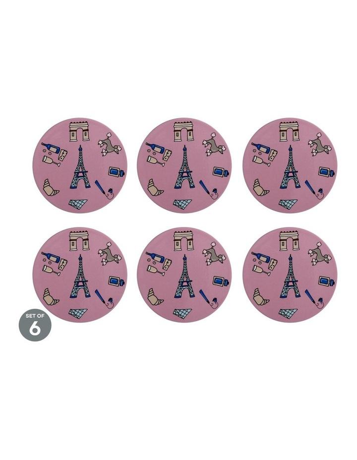 Megan McKean Cities Ceramic Round Coaster 10.5cm Paris Set of 6 image 1