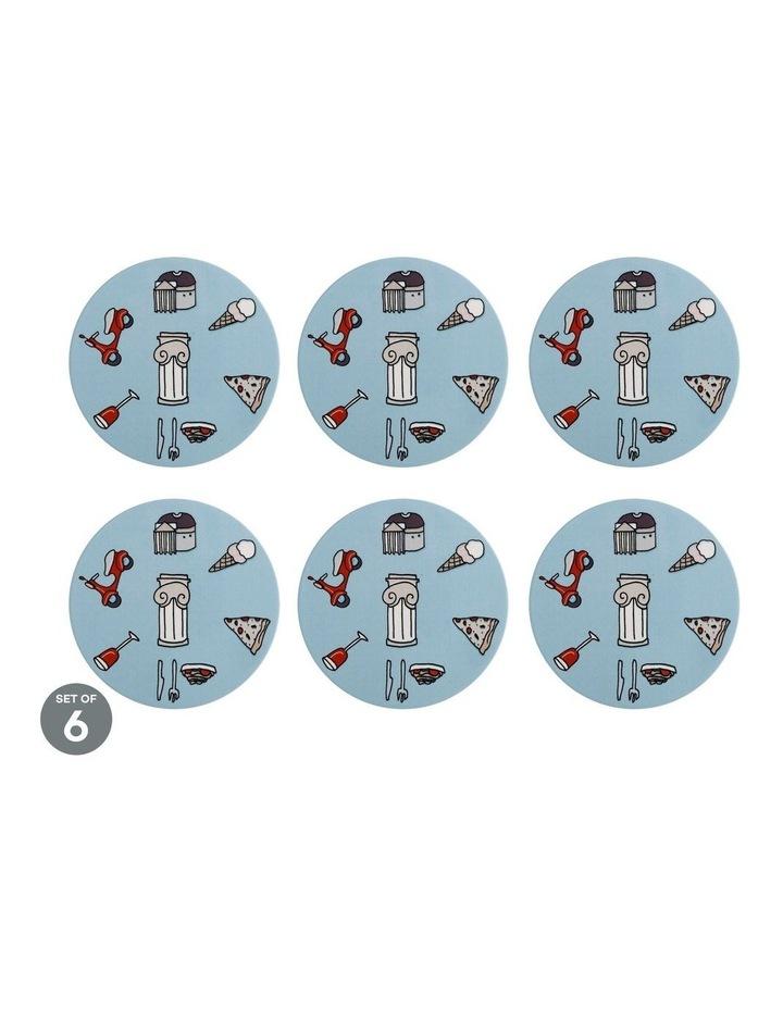 Megan McKean Cities Ceramic Round Coaster 10.5cm Rome Set of 6 image 1