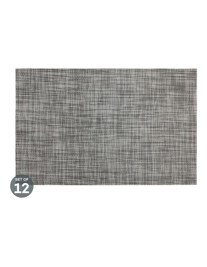 Placemat Crosshatch 45x30cm Grey Set of 12 image 1