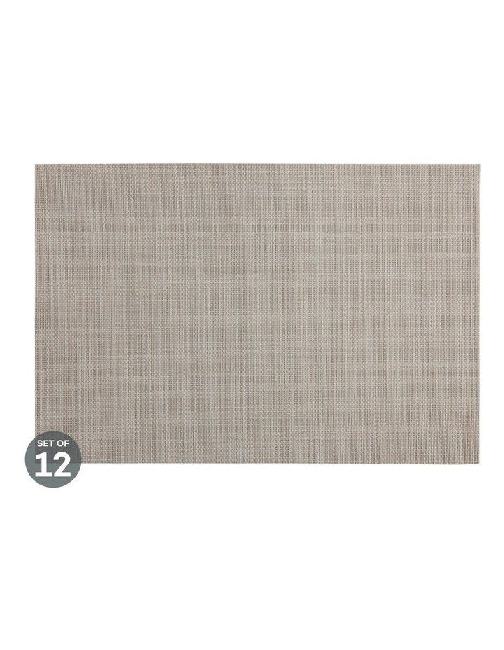 Placemat Crosshatch 45x30cm Taupe Set of 12 image 1