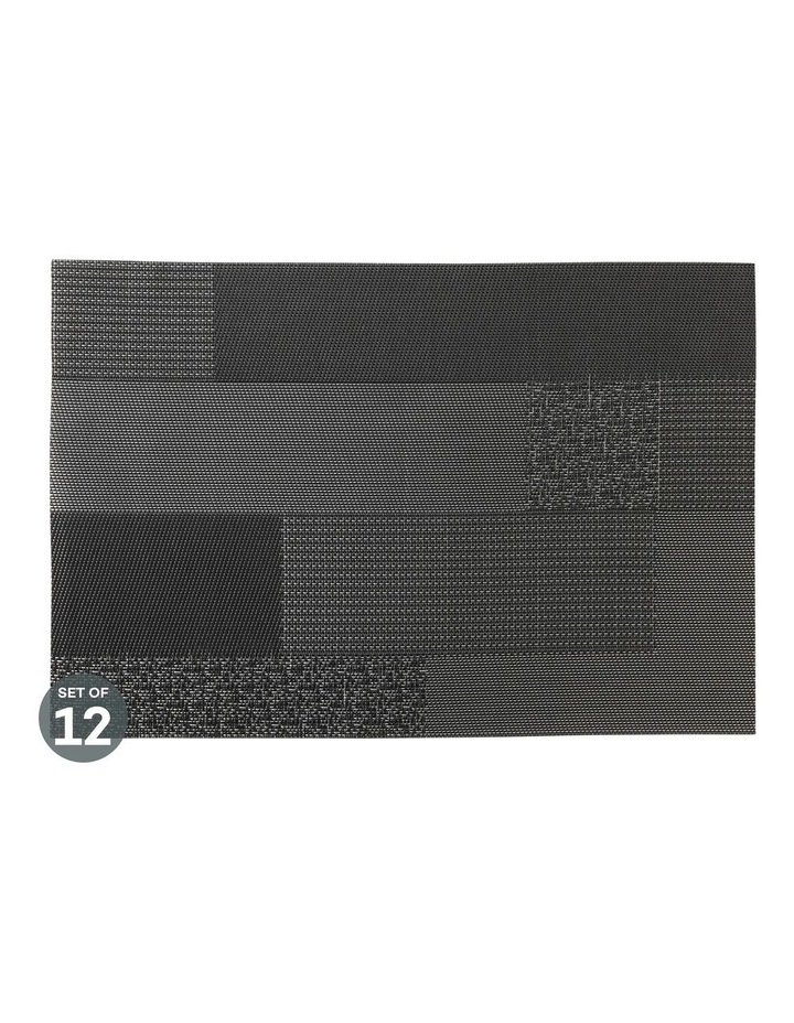 Placemat Blocks 45x30cm Black Set of 12 image 1