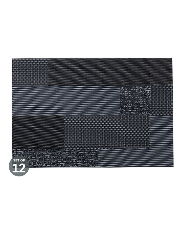 Placemat Blocks 45x30cm Navy Set of 12 image 1