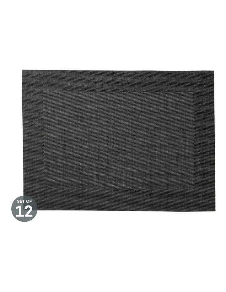 Placemat Wide Border 45x30cm Charcoal Set of 12 image 1