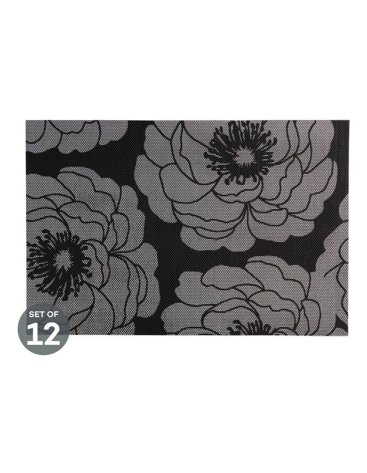Placemat Camellia 45x30cm Silver Set of 12 image 1