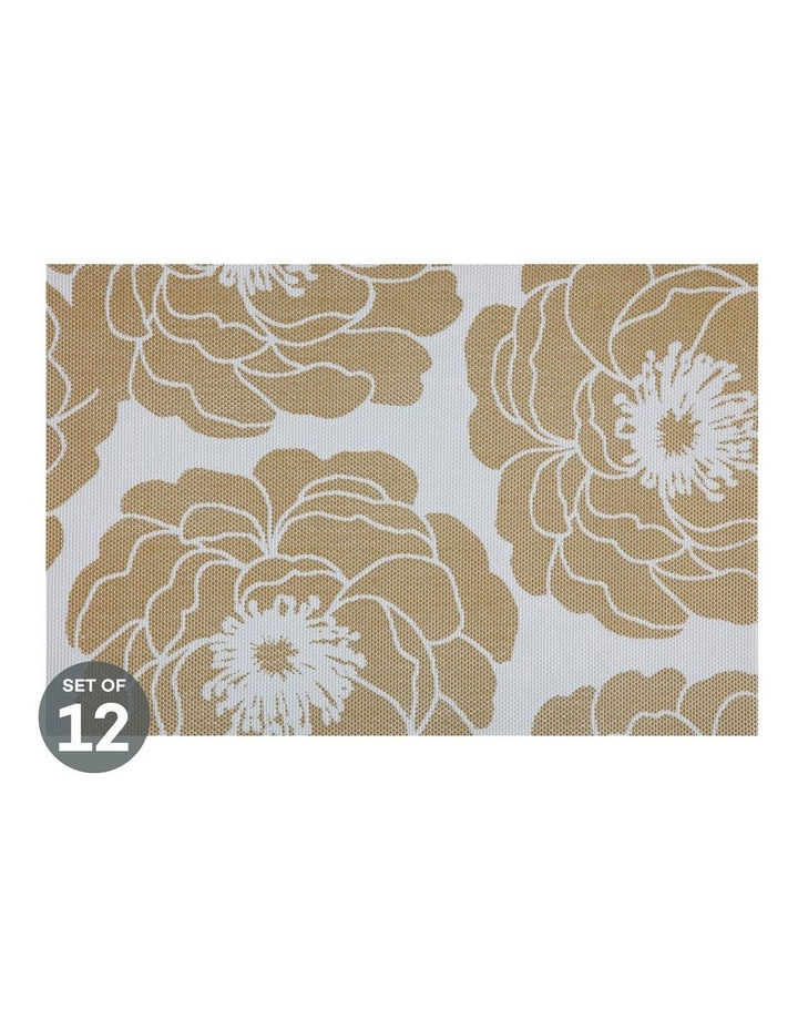 Placemat Camellia 45x30cm Gold Set of 12 image 1