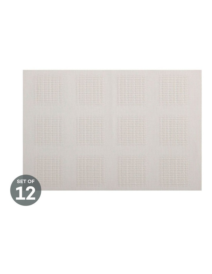 Placemat 45x30cm White Squares Set of 12 image 1