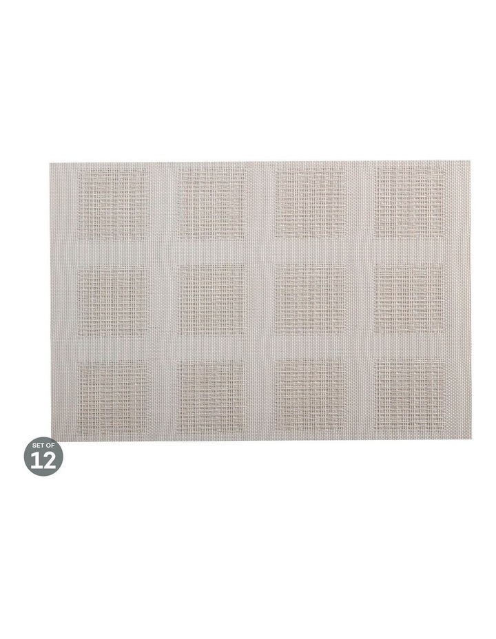 Placemat 45x30cm Taupe Squares Set of 12 image 1