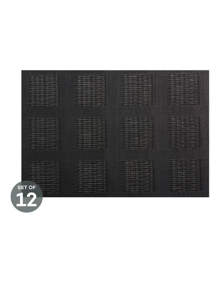 Placemat 45x30cm Black Squares Set of 12 image 1
