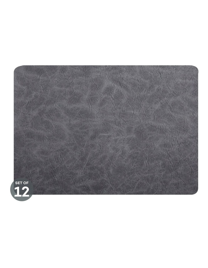 Placemat 43x30cm Leather look Grey Set of 12 image 1