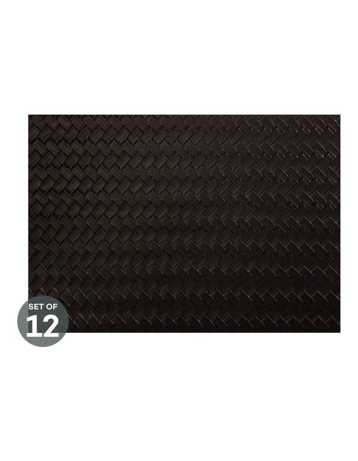 Table Accents Leather Look Placemat 43x30cm Black Plait Set of 12 image 1
