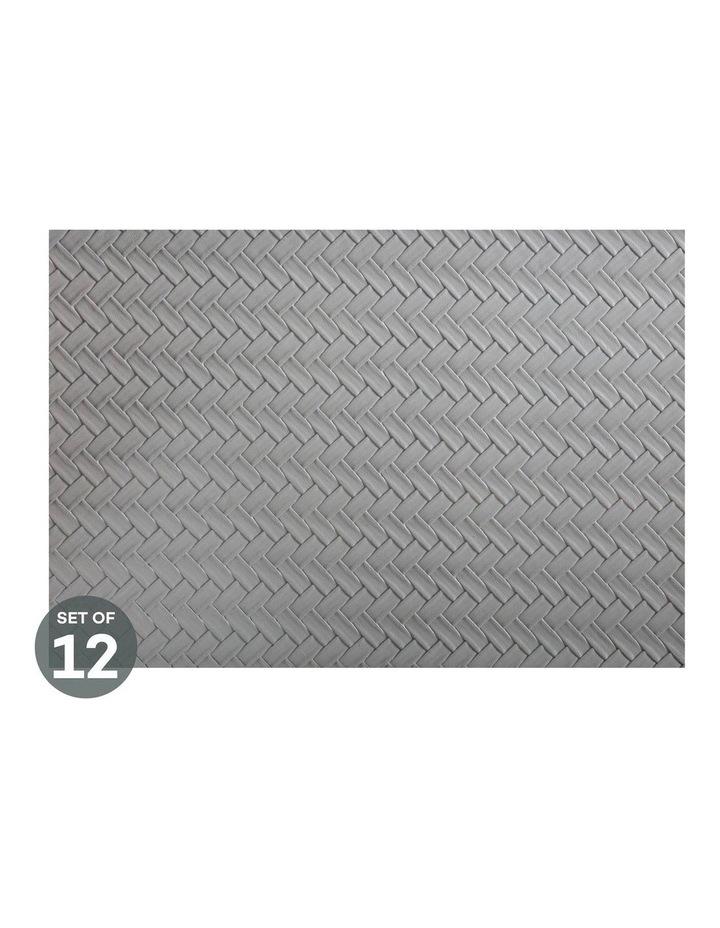 Table Accents Leather Look Placemat 43x30cm Grey Plait Set of 12 image 1