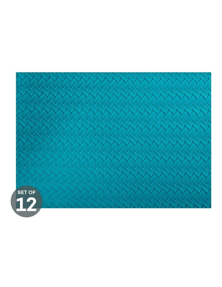Table Accents Leather Look Placemat 43x30cm Teal Plait Set of 12 image 1