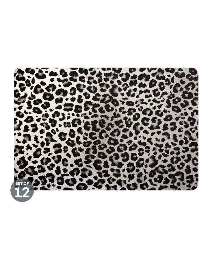 Table Accents Leopard Placemat 45x30cm Silver Set of 12 image 1