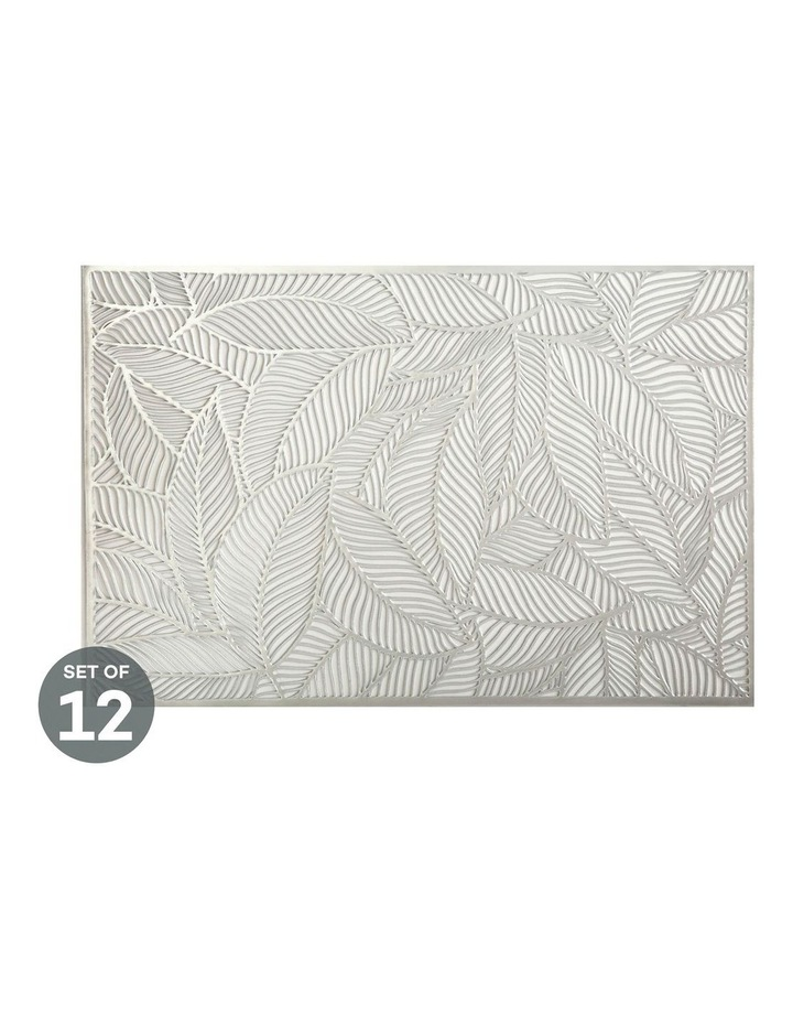 Table Accents Cut-Out Placemat 45x30cm Leaf Silver Set of 12 image 1