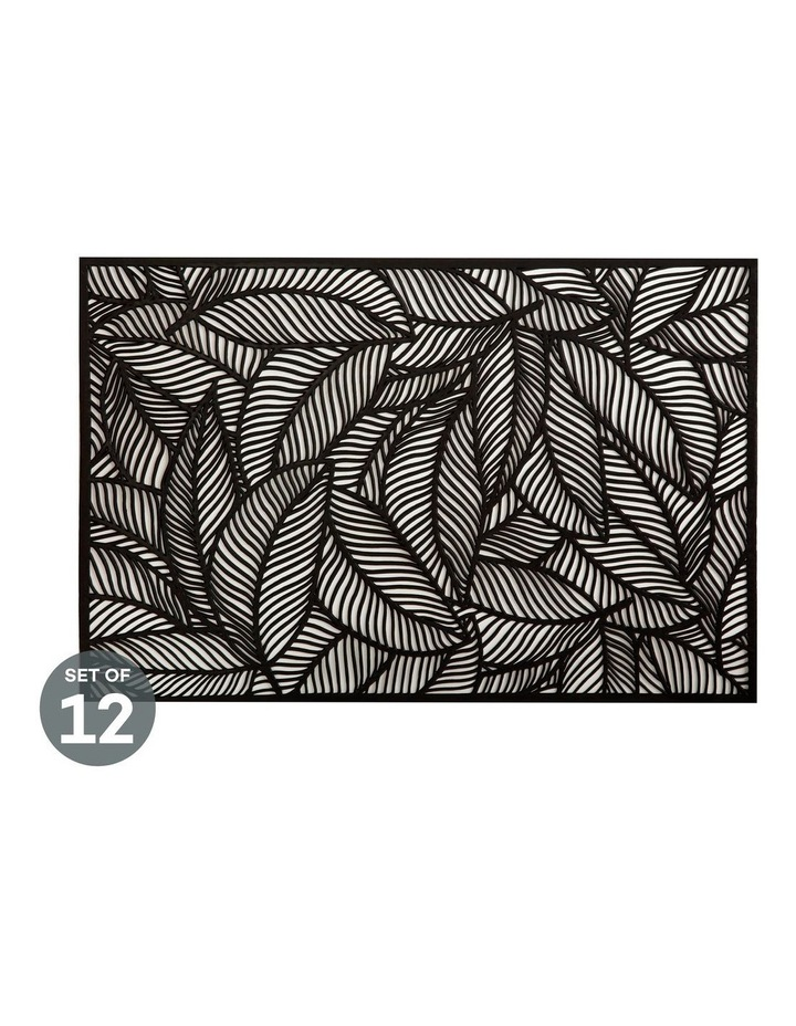 Table Accents Cut-Out Placemat 45x30cm Leaf Black Set of 12 image 1