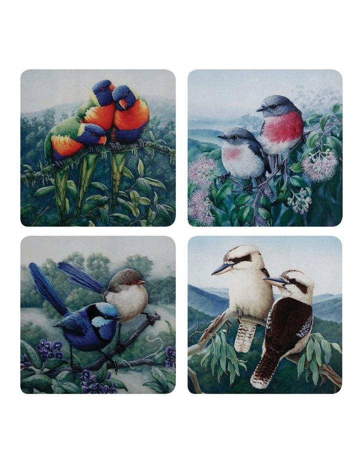 Birds of Australia KC 10yr Anniversary Cork Back Coaster 10.5cm Set of 4 Gift Boxed image 1
