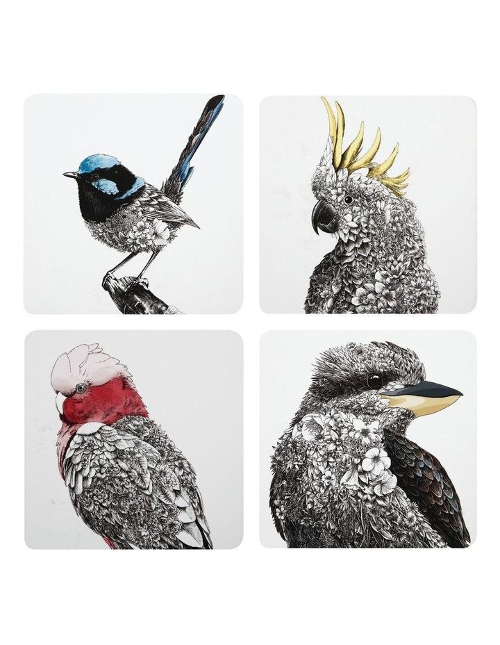 Marini Ferlazzo Birds of Australia Cork Back Coaster 10.5cm Set of 4 Gift Boxed image 1