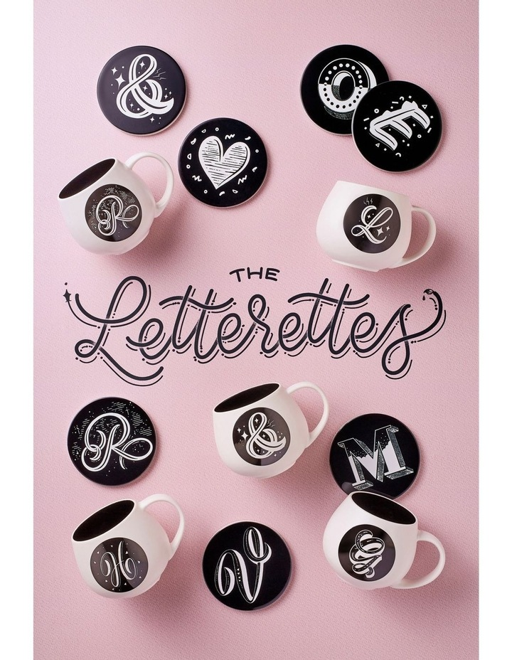 "The Letterettes Ceramic Round Coaster 10.5cm ""@"" Gift Boxed image 2"