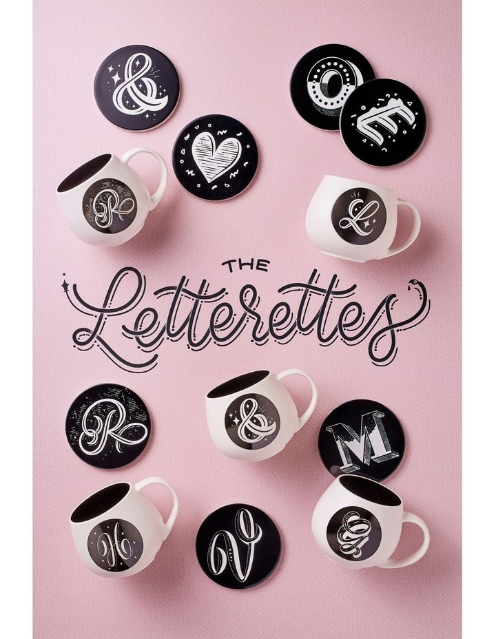 "The Letterettes Ceramic Round Coaster 10.5cm ""A"" Gift Boxed image 2"