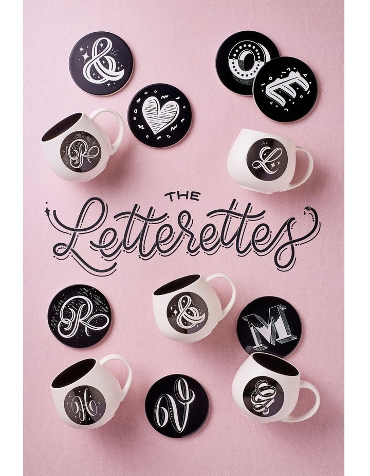 """The Letterettes Ceramic Round Coaster 10.5cm """"D"""" Gift Boxed image 2"""