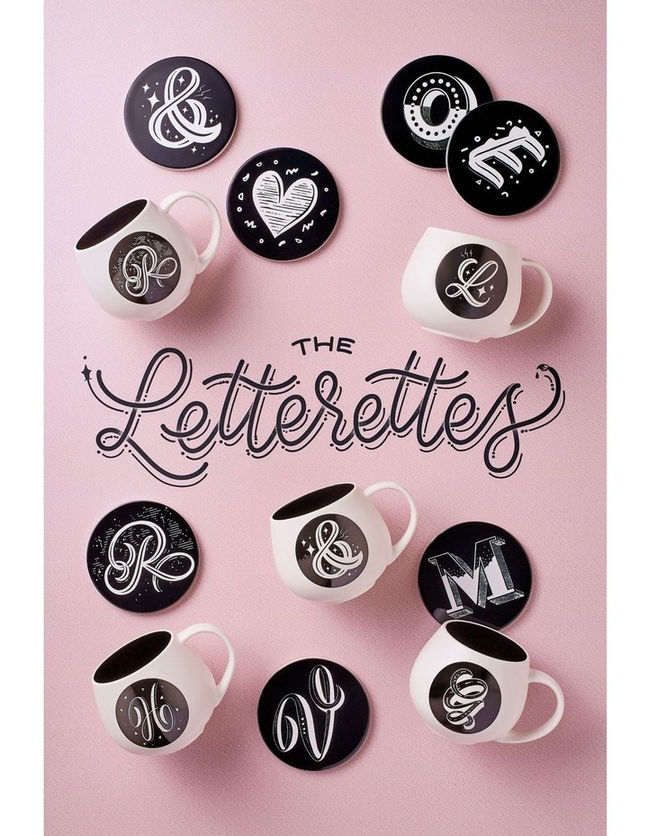 The Letterettes Ceramic Round Coaster 10.5cm Heart Gift Boxed image 2