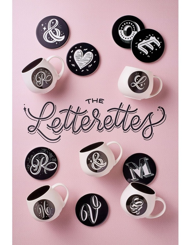 """The Letterettes Ceramic Round Coaster 10.5cm """"H"""" Gift Boxed image 2"""
