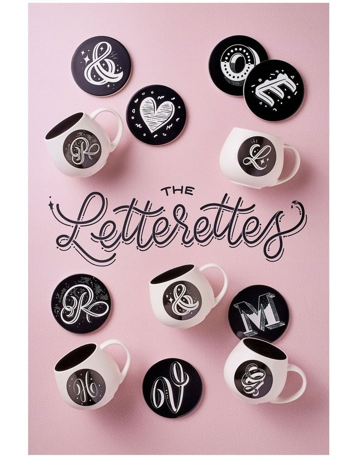 "The Letterettes Ceramic Round Coaster 10.5cm ""V"" Gift Boxed image 2"